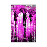 Purple Portrait oil painting of umbrellas with a variety of colours By Leonid Afremov Oil Painting Re-printed on Framed Canvas Wall Art Prints Home Decoration Pictures Room Deco Photo-Front