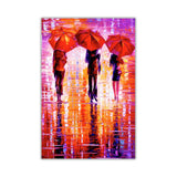 Purple and red Portrait oil painting of umbrellas with a variety of colours By Leonid Afremov Oil Painting Re-printed on Framed Canvas Wall Art Prints Home Decoration Pictures Room Deco Photo-Front