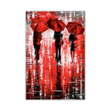 Red Portrait oil painting of umbrellas with a variety of colours By Leonid Afremov Oil Painting Re-printed on Framed Canvas Wall Art Prints Home Decoration Pictures Room Deco Photo-Front