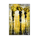 Yellow Portrait oil painting of umbrellas with a variety of colours By Leonid Afremov Oil Painting Re-printed on Framed Canvas Wall Art Prints Home Decoration Pictures Room Deco Photo-Front