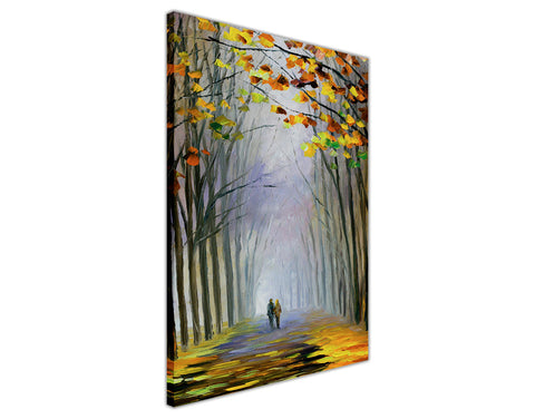 Autumn Fog By Leonid Afremov Oil Painting Re-printed on Framed Canvas Wall Art Prints Home Decoration Pictures Room Deco Photo-3D