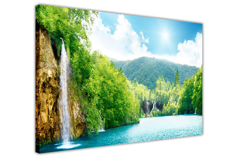 Waterfall in a forest on Framed Canvas Wall Art Prints Floral Pictures Home Decoration Room Deco Poster Photo Artwork-3D