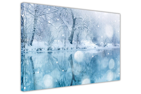 Winter Lake and snowy trees on Framed Canvas Wall Art Prints Floral Pictures Home Decoration Room Deco Poster Photo Artwork-3D