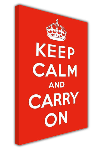 Red Colour Keep Calm and Carry On on Framed Canvas Wall Art Prints Room Deco Poster Photo Landscape Pictures Home Decoration Artwork-3D