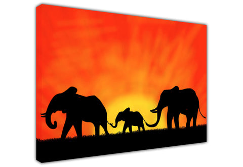 African Elephant Family Silhouette Canvas Wall Art Pictures Prints Canvas It Up 3D