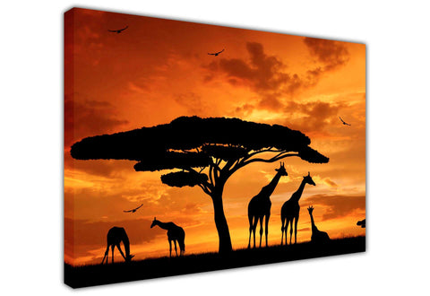 African Giraffe Family Silhouette Canvas Wall Art Pictures Prints Canvas It Up 3D