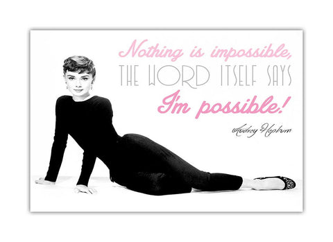 Iconic Hollywood Legend Audrey Hepburn Im Possibe Quote on Framed Canvas Wall Art Prints Pictures Celebrity Images Famous People-3D