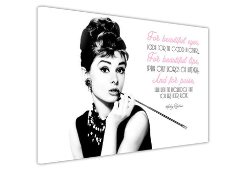 Iconic Audrey Hepburn Beautiful Quote on Framed Canvas Wall Art Print