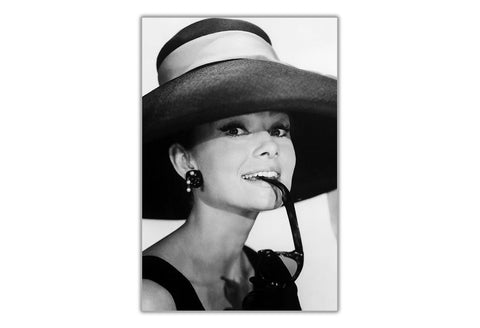 Black and White Audrey Hepburn with Sunglasses Framed Canvas Wall ...