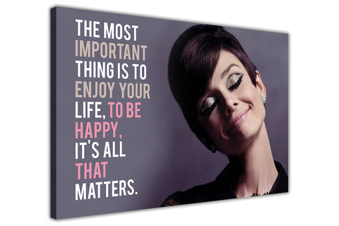 Audrey Hepburn Smile Quote on Framed Canvas Wall Art Prints Pictures Celebrity Images Famous People-3D