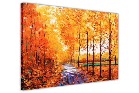 Yellow Autumn trees and Leaves Oil Painting Re-print on Framed Canvas Wall Art Prints Home Decoration Pictures Room Deco Photo-3D