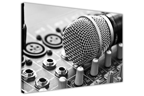 Black and White Microphone on Framed Canvas Wall Art Pictures Music Prints photos Home Decoration Room Deco Posters-3D