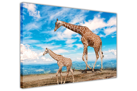 Baby Giraffe and Blue Sky on Framed Canvas Wall Art Prints Room Deco Poster Photo Landscape Pictures Home Decoration Artwork-3D