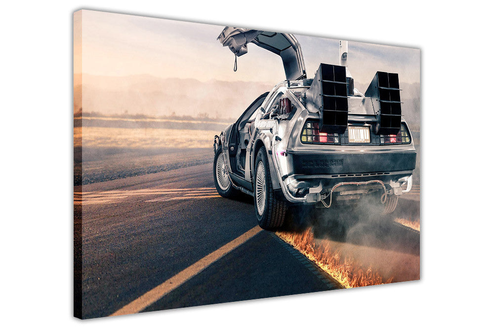 Iconic Back To The Future Car Movie Poster on Framed Canvas Wall Art ...