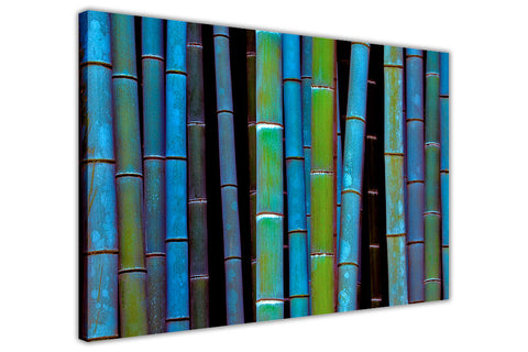 Blue Bamboo Forest on Framed Canvas Wall Art Prints Floral Pictures Home Decoration Room Deco Poster Photo Artwork-3D