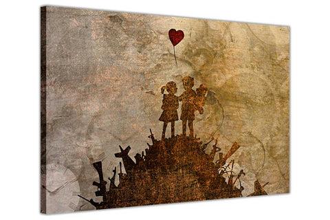 Banksy Kids on Guns Hill Mural on Framed Canvas Wall Art Prints Room Deco Poster Photo Landscape Pictures Home Decoration Artwork-3D