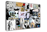 Banksy Collage Light on Framed Canvas Wall Art Prints Room Deco Poster Photo Landscape Pictures Home Decoration Artwork-3D