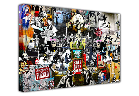 Banksy Collage Dark on Framed Canvas Wall Art Prints Room Deco Poster Photo Landscape Pictures Home Decoration Artwork-3D
