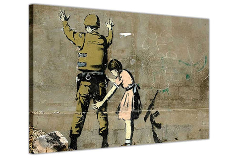 Banksy Girl Searching Soldier on Framed Canvas Wall Art Prints Room Deco Poster Photo Landscape Pictures Home Decoration Artwork-3D