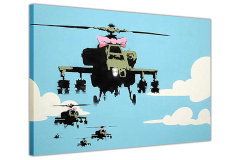 Banksy Helicopters With Pink Bowtie on Framed Canvas Wall Art Prints Room Deco Poster Photo Landscape Pictures Home Decoration Artwork-3D