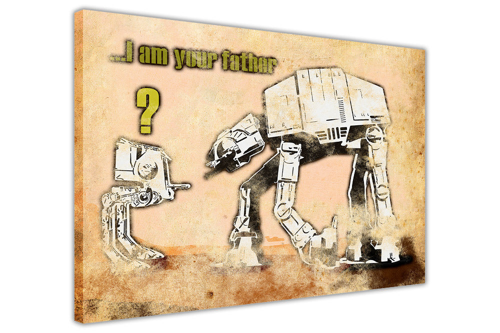 Banksy Mural I am Your Father At-At Star Wars on Framed Canvas Wall ...