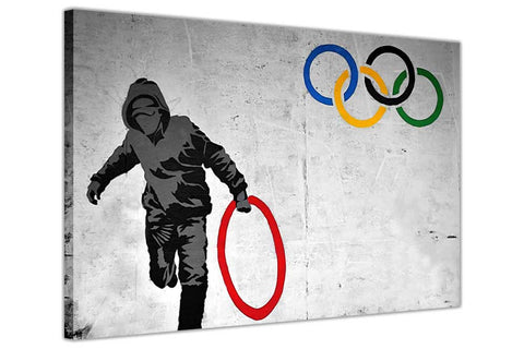 Banksy Olympic Thug Stealing Ring on Framed Canvas Wall Art Prints Room Deco Poster Photo Landscape Pictures Home Decoration Artwork-3D