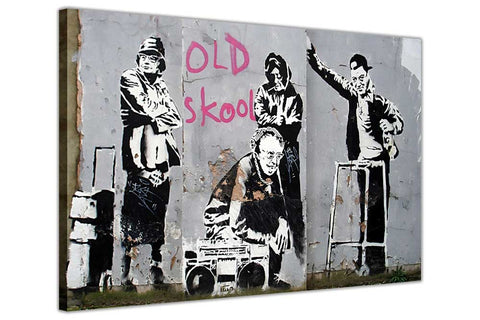 Old School Grannies by Banksy on Framed Canvas Wall Art Prints Room Deco Poster Photo Landscape Pictures Home Decoration Artwork-3D