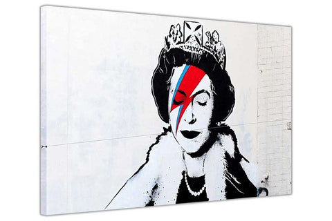Banksy Queen Diamond Jubilee on Framed Canvas Wall Art Prints Room Deco Poster Photo Landscape Pictures Home Decoration Artwork-3D