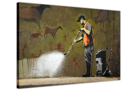 Banksy Graffiti Removal on Framed Canvas Wall Art Prints Room Deco Poster Photo Landscape Pictures Home Decoration Artwork-3D