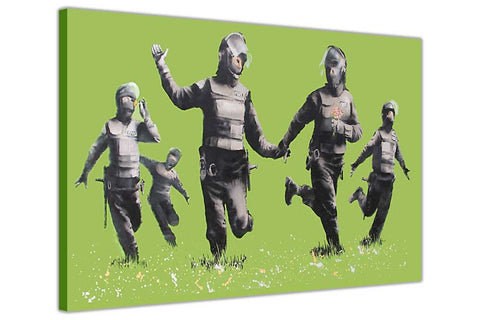 Banksy Riot Coppers on Framed Canvas Wall Art Prints Room Deco Poster Photo Landscape Pictures Home Decoration Artwork-3D