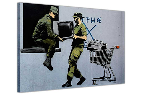 Banksy Stealing Soldiers on Framed Canvas Wall Art Prints Room Deco Poster Photo Landscape Pictures Home Decoration Artwork-3D