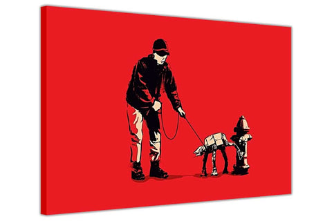 Banksy Walking Star Wars At At Dog on Framed Canvas Wall Art Prints Room Deco Poster Photo Landscape Pictures Home Decoration Artwork-3D