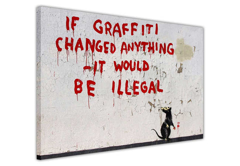 Banksy Rat If Graffiti Changed Anything Quote on Framed Canvas Wall Art Prints Room Deco Poster Photo Landscape Pictures Home Decoration Artwork-3D