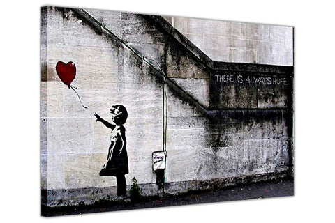Iconic Always Hope Balloon Girl By Banksy on Framed Canvas Wall Art Prints Room Deco Poster Photo Landscape Pictures Home Decoration Artwork-3D