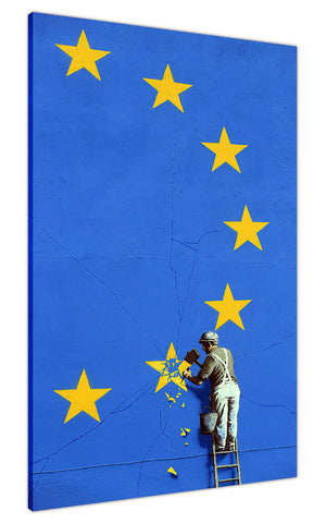 New Brexit Graffiti by Banksy on Framed Canvas Wall Art Prints Room Deco Poster Photo Landscape Pictures Home Decoration Artwork-3D