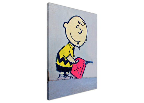 Iconic Banksy Charlie Brown Framed Canvas Pictures Wall Art Prints