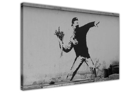 Famous Flower Thrower by Banksy on Framed Canvas Wall Art Prints Room Deco Poster Photo Landscape Pictures Home Decoration Artwork-3D