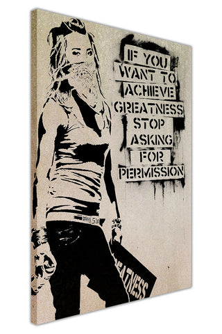 Banksy Greatness Quote on Framed Canvas Wall Art Prints Room Deco Poster Photo Landscape Pictures Home Decoration Artwork-3D