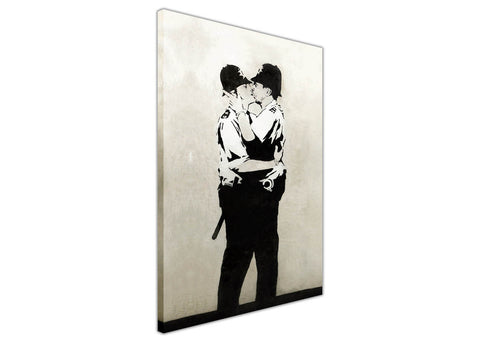 Iconic Banksy Kissing Coppers Police Framed Canvas Prints Wall Art Pictures Graffiti 3D