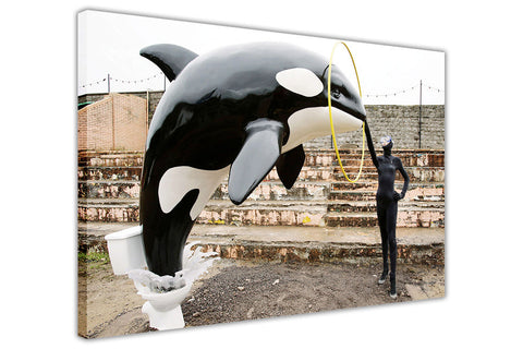 Banksy Killer Whale Orca Framed Canvas Wall Art Pictures