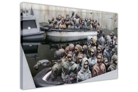 Banksy Refugee Boats Dismaland Framed Canvas Wall Art Pictures Prints