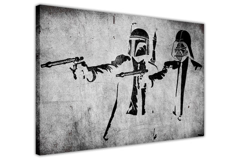 Banksy Star Wars Pulp Fiction Take on Framed Canvas Wall Art Prints Room Deco Poster Photo Landscape Pictures Home Decoration Artwork-3D
