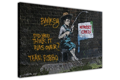Banksy Street Cred on Framed Canvas Wall Art Prints Room Deco Poster Photo Landscape Pictures Home Decoration Artwork-3D