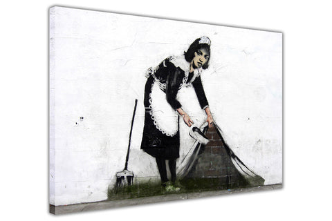 Famous Banksy Cleaning Maid on Framed Canvas Wall Art Prints Room Deco Poster Photo Landscape Pictures Home Decoration Artwork-3D
