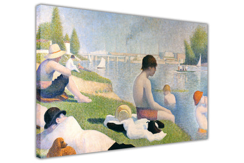 Bathers at Asnieres By Georges Seurat Canvas Wall Print Famous Artwork For Livingroom Bedroom Office Art Pictures Framed