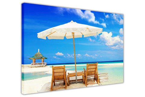Beautiful Beach Holiday on Framed Canvas Wall Art Prints Room Deco Poster Photo Landscape Pictures Home Decoration Artwork-3D