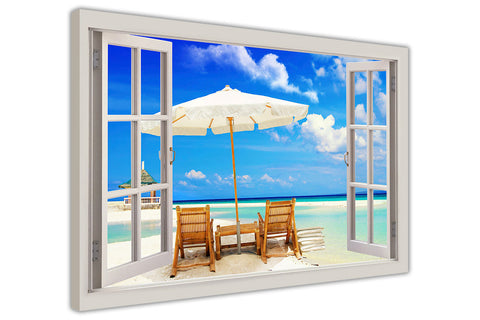 Beach Holiday 3d Window Bay View on Framed Canvas Wall Art Pictures Prints Pine Wood Posters Images Sale Canvas It Up-3D