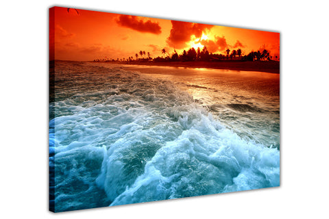 Beach Sunset Waves on Framed Canvas Wall Art Prints Room Deco Poster Photo Landscape Pictures Home Decoration Artwork-3D