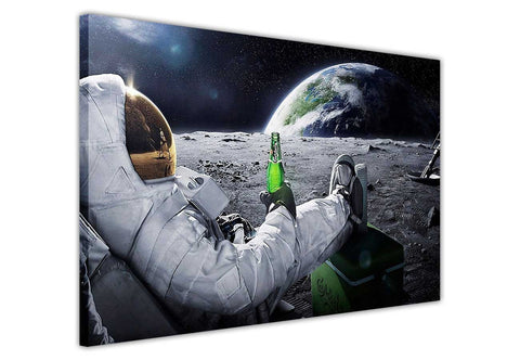 Beer on Moon Astronaut  on Framed Canvas Wall Art Prints Floral Pictures Home Decoration Room Deco Poster Photo Artwork-3D