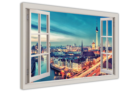 Berlin Germany 3D Window Effect on Framed Canvas Wall Art Pictures Home Decoration Framed Prints Canvas It Up 3D